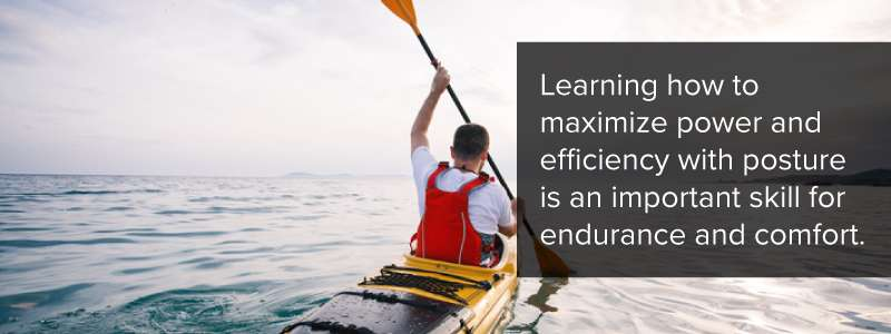 In kayaking, learning how to maximize power and efficiency with posture is an important skill for endurance and comfort